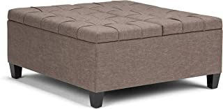 Simpli Home AXCOT-265-BRL Harrison 36 inch Wide Traditional Square Coffee Table Storage Ottoman in Fawn Brown Linen Look Fabric