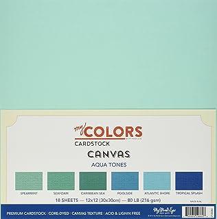 My Couleurs Papier cartonné 12x 18pièces 30,5cm Toile Tones Papier cartonné Bundle, Aqua