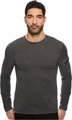 John Varvatos Star U.S.A. - Burnout French Terry Long Sleeve Crew