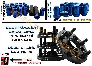 Full Set of Subaru 5x100 to 5x114.3 15mm Conversion Adapter Kit 56.1mm Bore Hubcentric | 20pc Blue Spline Duplex Locking 12x1.25 Lug Nuts & 2 Key Sockets