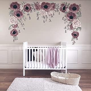 Floral Wall Sticker Decal Purple Girl Nursery Decor Easy Install Wall Mural
