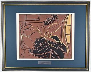 パブロ ピカソ 『窓際に座る女【酒神の宴、女、雄牛と闘牛士より】』 絵画 本 版画 リノカット 1962年制作 作家生前作品 新品の額付き 壁面への取付け用フック付き