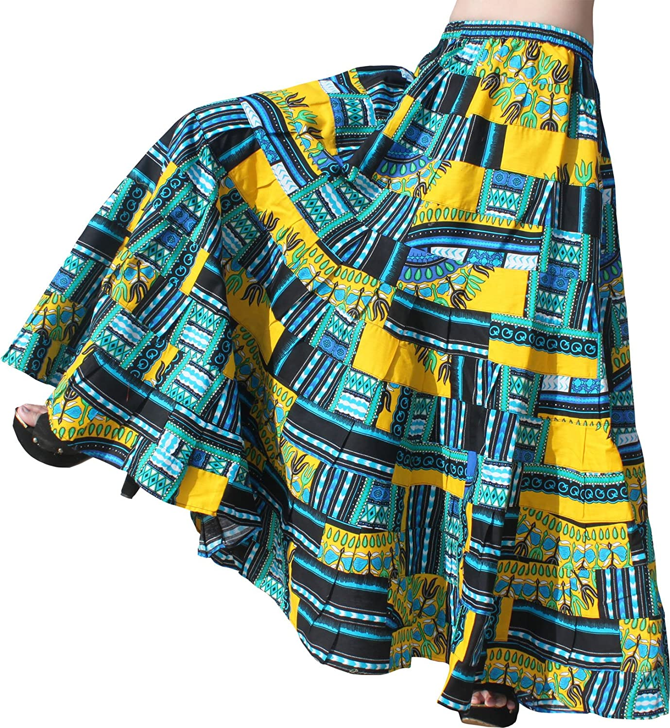 Raan Pah Muang Skirt 14 Layer Flowing African Dashiki in Bright Multi color Patches
