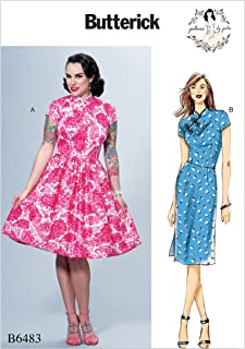 Butterick Patterns B6483 E5 Misses` Dresses with Mandarin Collar and Skirt Options by Gertie, Size 14-16-18-20-22