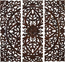 """Deco 79 14255 Large Hand-Carved Wood Wall Panels with Floral & Acanthus Designs, 24"""" x 71"""""""