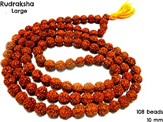 AM Rudraksha Mala Jaap Organic Jewellery with 108 beads for Pooja/Astrology (Brown, 10mm)