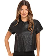 Just Cavalli - Eco-Leather Cropped T-Shirt