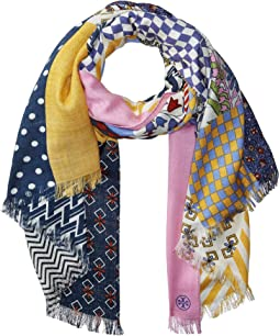 Patchwork Printed Oblong Scarf
