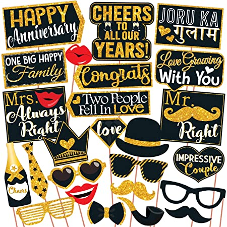 Wobbox Anniversary Photo Booth Party Props DIY Kit, Golden Glitter & Black , Anniversary Party Decoration All Dates