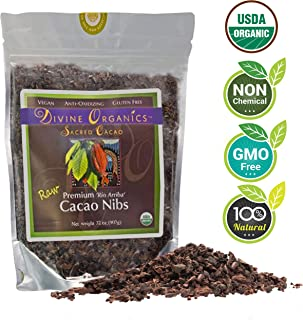 Divine Organics Raw Cacao/Cocoa Nibs - Certified Organic - Premium Rio Arriba - Smoothies, Baking, Snacks, Salads, Trail Mixes - Chocolate Chips Substitute - Rich in Magnesium (32oz)