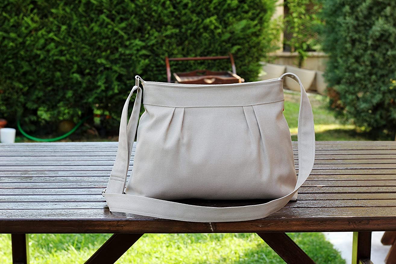 Small and Sweety Purse Beige Color Pleated Canvas Shoulder Crossbody bag Women Accessories High quality gift for her zipper closed bag Chic hippirhino Different Colors are Available