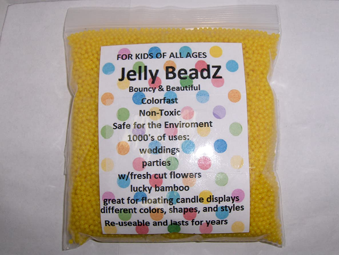 JellyBeadZ Brand - Huge 1 Pound Water Bead Gel - 16 Ounce. Heat Sealed Bag - Lemon Yellow
