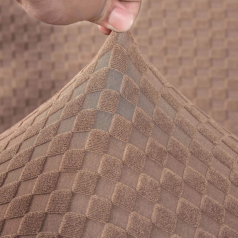 Carvapet Extensible Housse de Canap/é Protecteur pour Canap/é /Élastique Jacquard Tricot/é Solide Universel Couvre Protecteur pour Meubles Beige,2 Places