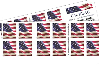 USPS Us-Flag-Forever-Stamps-40 US Flag Forever Stamps - 40 Stamps (Two Books of 20) Packaging May Vary, Blue Red White