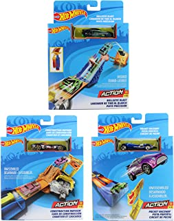 Hot Wheels Action Track Packs Set of 3 - Construction Mayhem, Bullseye Blast and Raceway Track Playsets