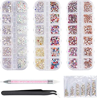 AB Crystal Rhinestones,5900 Pieces Flat Back Crystals Mixed 11 sizes (1.5-4.0mm) with Tweezers and Rhinestones Dotting Pen...