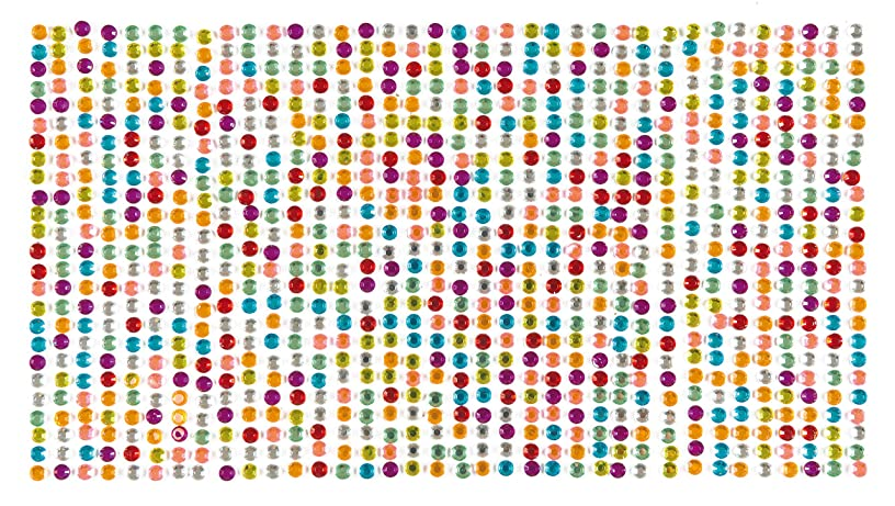 Baker Ross Self-Adhesive Assorted Colored Acrylic Gems in Strips (Size: 0.2 inch per gem) for Collage, Card Making, Children's Arts & Crafts (25 Gems Per Strip, 36 Strips)
