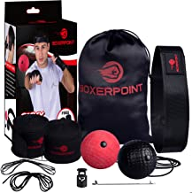 Boxing Reflex Ball - Training Ball on String with Headband for Adults and Kids - Improve Hand Eye Coordination, Punching Speed and Fight Reactions - Carry Bag and Hand Wraps Included