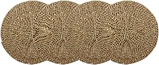 wellhouse Natural Cattail Placemats Round Woven Straw Placemats Rattan Placemats Handmade Dining Table Mats Insulation Pad No-Slip Pads (15.7Inch, Cattail-4)