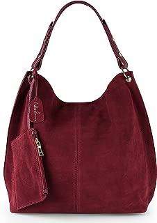 Women Genuine Suede Leather Large Hobo Purse Shoulder Bag