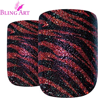 False Nails Bling Art French Fake Black Red Stripe Squoval 24 Acrylic Medium Tip
