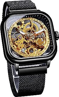 Forsining Transparent Fashion Automatic Mechanical Wrist Watch Black Golden for Business Men Stainless Steel Open Work Ske...