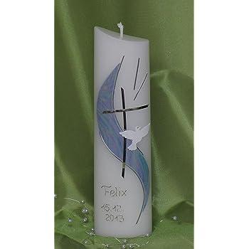 Junge M/ädchen Datum und mit Karton zur Aufbewahrung mit Name mit edler Perlmuttstruktur Taufkerze Perlmutt. blau silber farbig 24x6 cm -1050 Taufkerze Ovalform