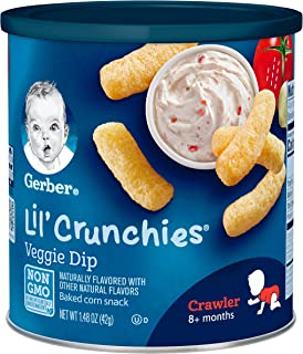Gerber Lil' Crunchies Mild Cheddar, 1.48 Ounce Canisters (Pack of 6),Veggie Dip cuicui