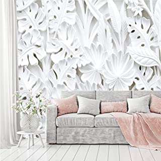 comprar comparacion murimage Papel Pintado Flores 3D 366 x 254 cm incluye pegamento Plantas Florales Estuco Blanco Dormitorio Salon Fotomurale...