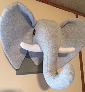 Stuffed Heather Gray Elephant/Stuffed animal head/Faux animal head/Heather gray on Greige plaque/Best Baby Shower Gifts