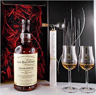 Geschenk Balvenie 12 Jahre Single Malt Whisky  Glaskugelportionierer 2 Bugatti Gläser
