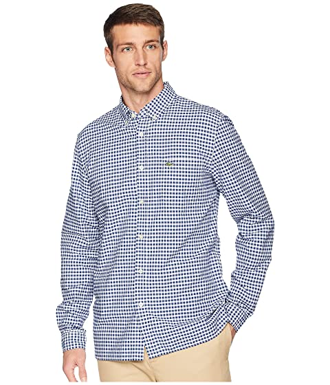 6f532ab95 Lacoste Long Sleeve Oxford Gingham Button Down Collar Regular at ...