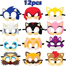 Salovio 12Pcs Sonic Felt Masks Themed Party Supplies Birthday Hedgehog Party Favors Dress Up Costumes Mask Photo Booth Prop Cartoon Character Cosplay Pretend Play Accessories Gift for Kids Boys Girls