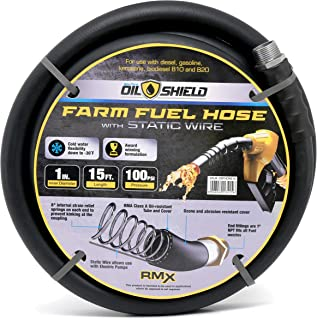 Oil Shield Next-Gen Farm Fuel Transfer Hose - Lighter - 2X Kink Resistant - Antistatic - 4 Finger Grip Bend Restrictors (1
