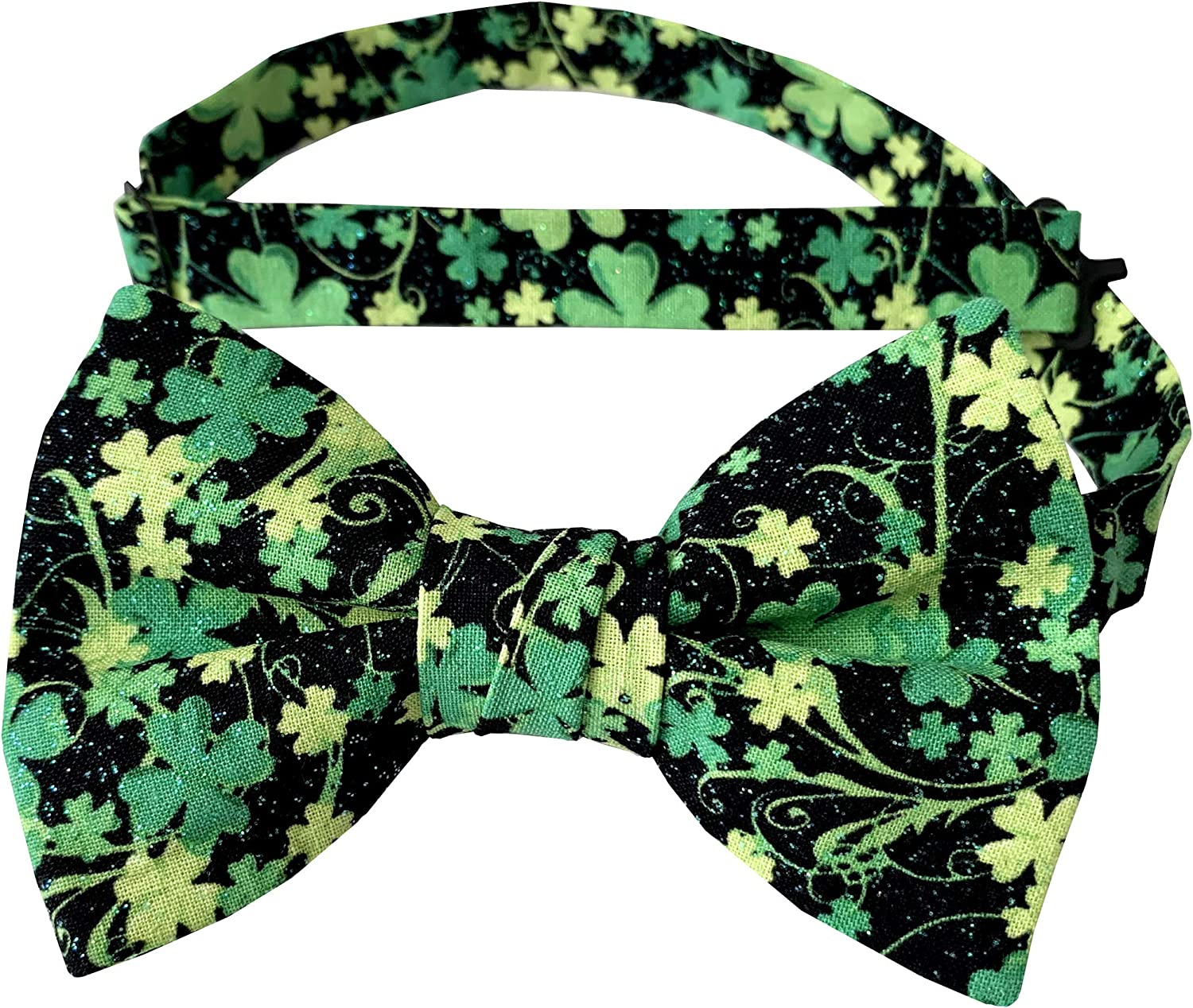 Holiday Bow Ties Mens Shamrock Bow Tie St. Patrick Day Green Iridescent Sparkle