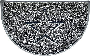 Nicoman Star Embossed Doormat, Spaghetti Mat, Grey, Half-Moon (70x44cm)