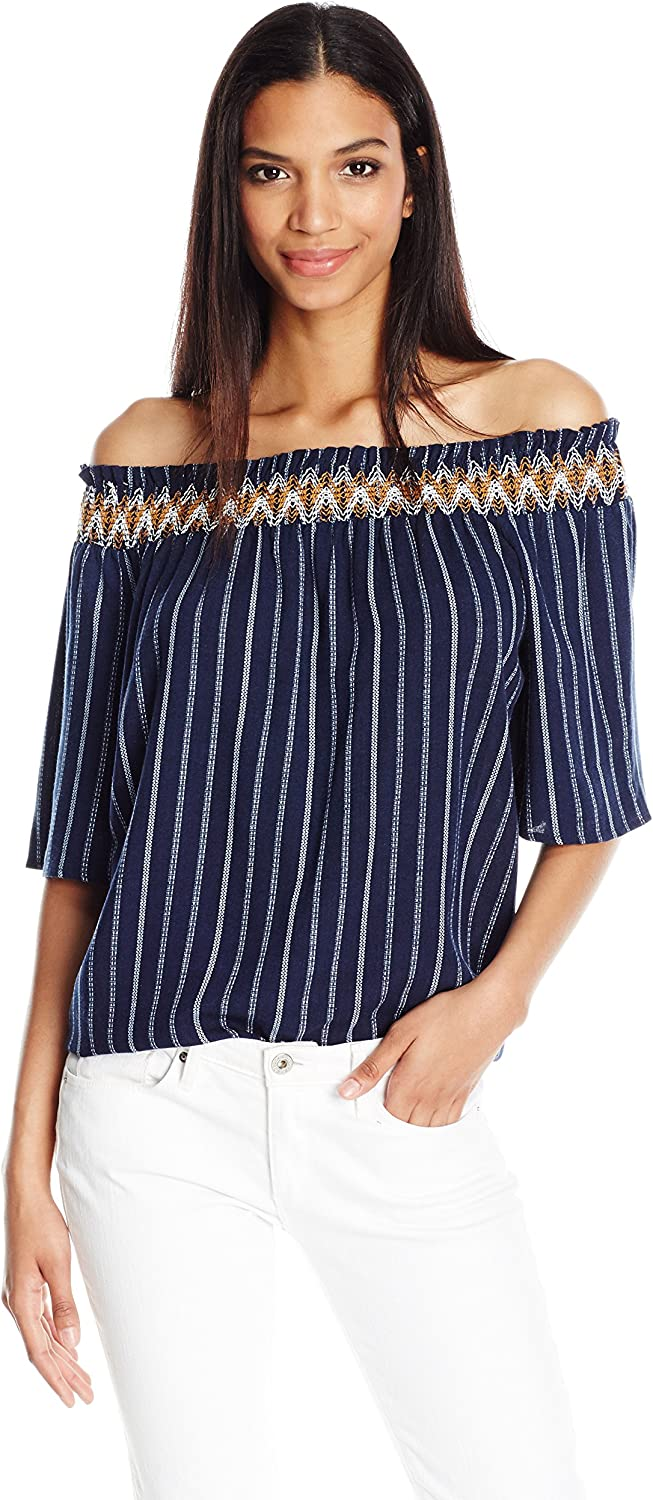 blue Pepper Womens Off Shoulder Short Sleeve Top with Stripe Print Dress
