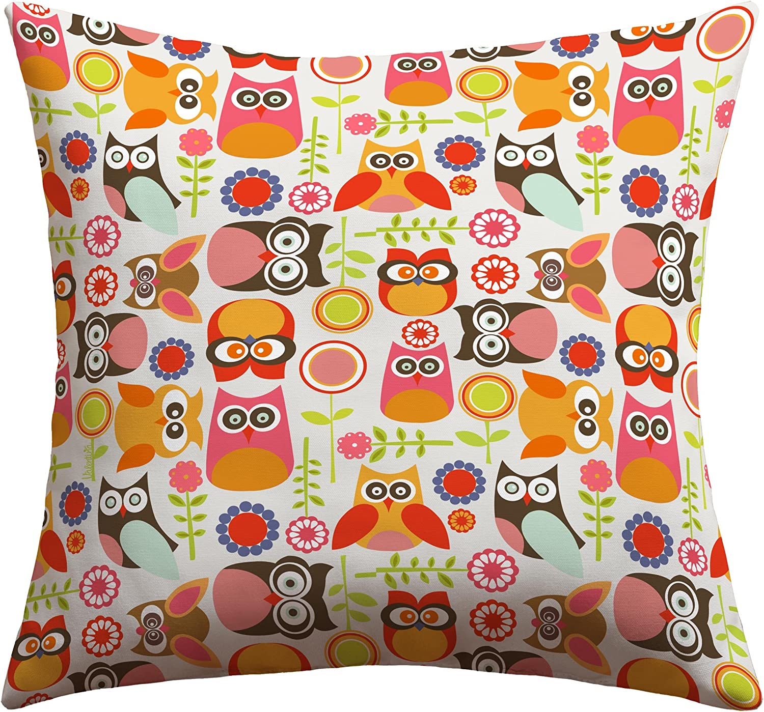 Deny Designs Valentina Ramos Cute Little Owls Outdoor Throw Pillow, 26 x 26