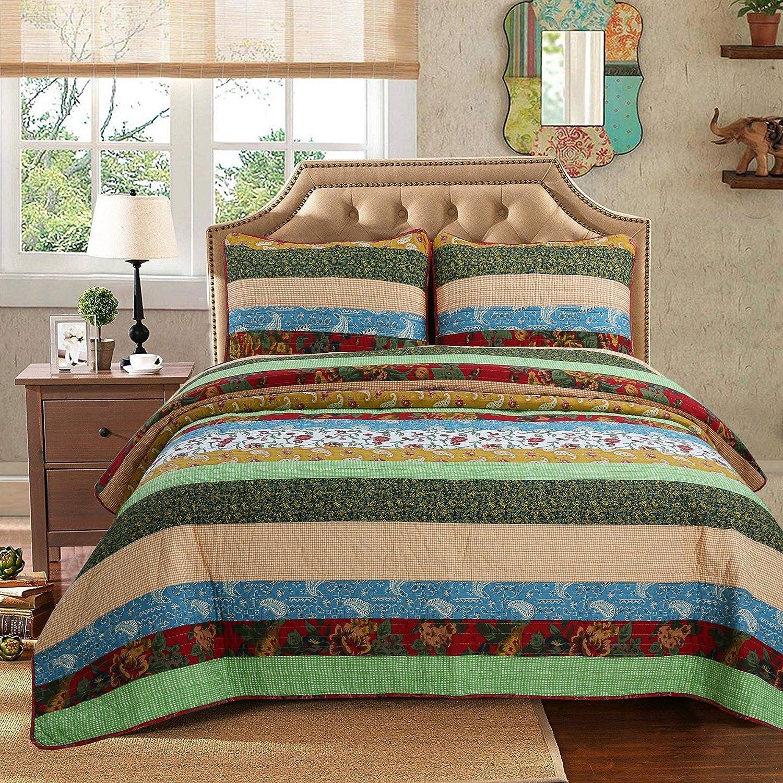 Cozy Line Home Fashions Eleonore Green Beige Floral Striped Flower Lodge House Cabin Cottage 100% Cotton Quilt Bedding Set Reversible Coverlet Bedspread for Women (Boho Stripe, Queen - 3 Piece