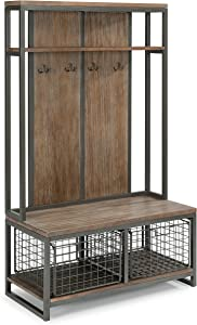 Barnside Metro Hall Tree Constructed of Mixes Media, Gray Metal Frame with Multi-toned Driftwood Finish with Two Large Storage Baskets and Four Hooks