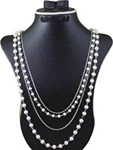 Multi Layered White Pearls Necklace for women