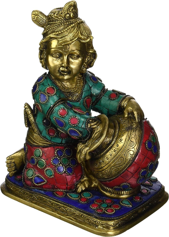 CraftVatika Baby Krishna The Butter Inla Thief Brass 毎日続々入荷 with 毎日続々入荷 Statue