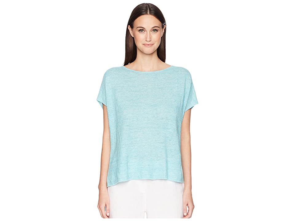 Eileen Fisher Bateau Neck Poncho (Pale Turquoise) Women