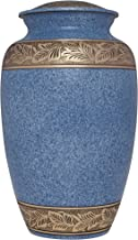 Blue and Bronze Funeral Urn by Liliane Memorials - Cremation Urn for Human Ashes - Hand Made in Brass - Suitable for Cemetery Burial or Niche - Large Size fits remains of Adults up to 200 lbs - Marroc