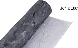 "Fiberglass Screen Roll 18 x 16 Mesh UV Protection Install and Repair Door and Window Screen (36"" x 100', Gray)"