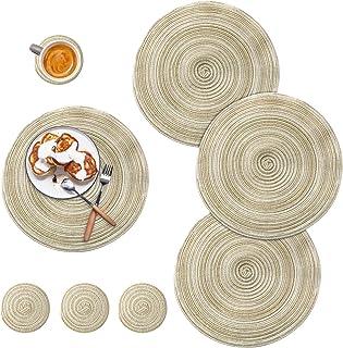 DONQL Lot de 4 sets de table ronds et lavables en coton avec 4 sous-verres - Convient pour la cuisine - Différents motifs ...