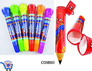 KARTsHiTech™ 6 Colorful Roller Stamper Marker/Pen for Kids Stylish and Attractive (Pack of 6 Roller Marker Stamp) with Pencil Shape Pencil Box (Avengers/Spider-Man/for Boys)