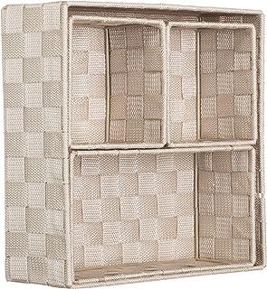 Brandsseller Lot de 4 boîtes de rangement décoratives - Aspect rotin tressé - Beige