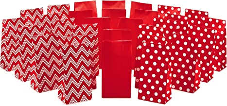 Hallmark Red Party Favor and Wrapped Treat Bags, Assorted Designs (30 Ct., 10 Each of Chevron, White Dots, Solid) for Christmas, Valentines Day, Sweetest Day and More