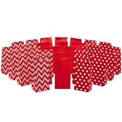 Hallmark Red Party Favor and Wrapped Treat Bags, Assorted Designs (30 Ct., 10 Each of Chevron, White
